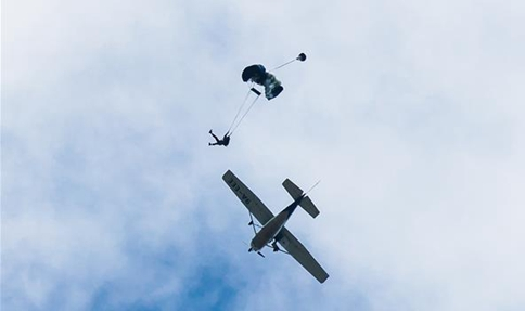 Parachuter jumps out of plane in Sinj, Croatia