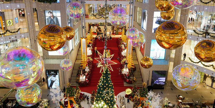 Christmas decorations displayed at shopping mall in Malaysia
