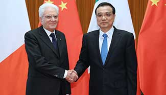 Chinese premier meets Italian president, vows to further cooperation