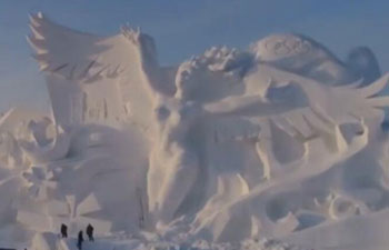 100 meters long! Giant snow sculpture built in China to celebrate 2018 PyeongChang Winter Olympics